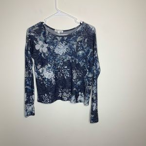 Aeropostale Womens XS Blue Floral Shirt